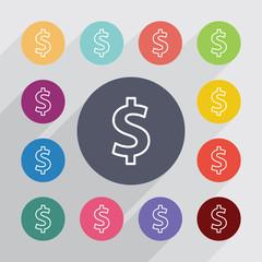 dollar outline circle, flat icons set