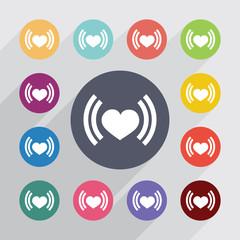 heart beat circle, flat icons set