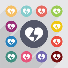 heart lightning circle, flat icons set