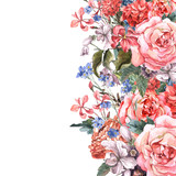 Greeting Card Floral Bouquet with roses - 77559848