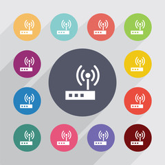 modem circle, flat icons set