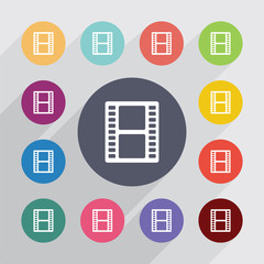 film circle, flat icons set