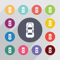 car top circle, flat icons set