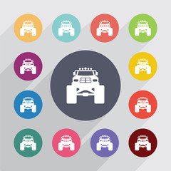 monster car circle, flat icons set