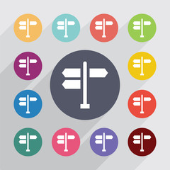 signpost circle, flat icons set