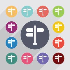 signpost circle, flat icons set