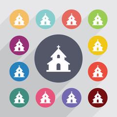church circle, flat icons set