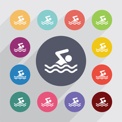 swim circle, flat icons set