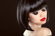 Постер, плакат: Smoky eyes makeup closeup Black bob hairstyle Sexy red lips B