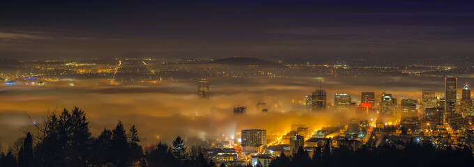 Rolling Fog Over City of Portland at Dawn Panorama