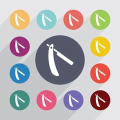 razor circle, flat icons set