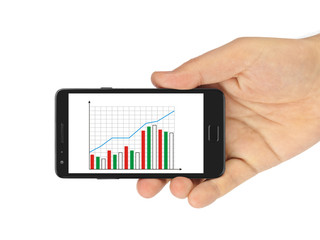 Hand with smartphone and business diagram