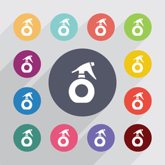 sprayer circle, flat icons set