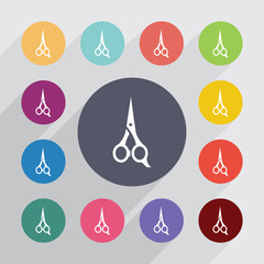 scissors circle, flat icons set