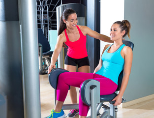 Hip abduction women exercise at gym indoor
