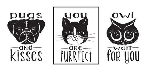 Animal Labels Monochrome