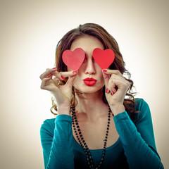 Funny Joyful Girl with Valentine Hearts
