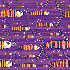 Purple pattern with decorative colored  fishes
