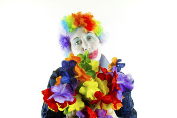 Sad Clown with Flowers, High Tone