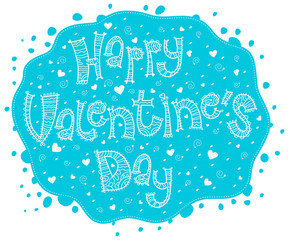 Blue card Happy Valentine's Day