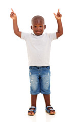 little african american boy pointing up