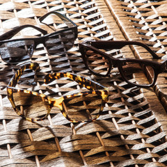 collection of colorful sunglasses on white background
