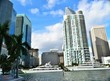 Miami Downtown with docked Yachts
