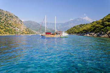 beautiful coast in popular turkish resort - Oludeniz