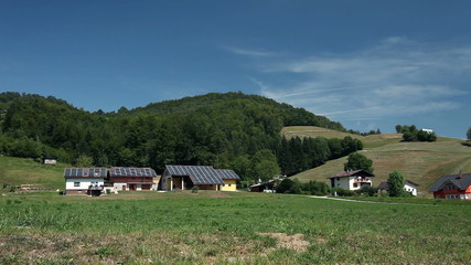Solar panel houses on a farm