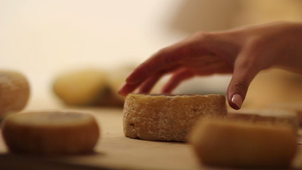 HD1080p: Close up of putting small cheeses together