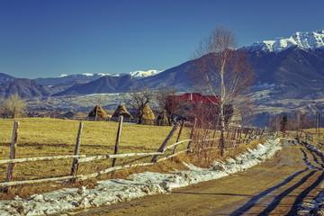 Romanian rural winter scenery, Pestera village, Romania