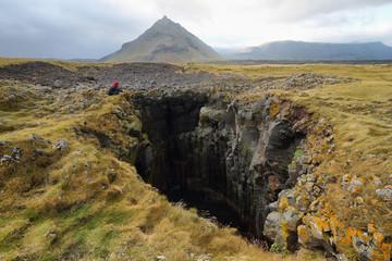 Hole of Basalt formations at Arnarstapi