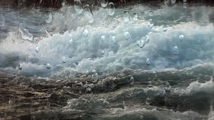 Shot of running water with water drops rising up from a  water foam.