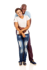 young afro american couple embracing