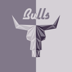 Skull of bull, abstract logo, grey triangles, faceted effects