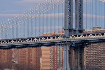 The Manhattan Bridge spanning across the east river from Brookly