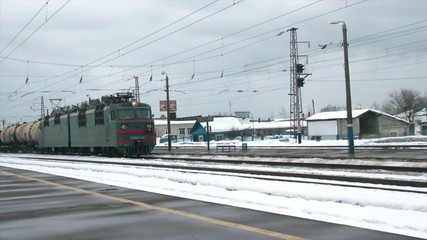 by passing freight train station