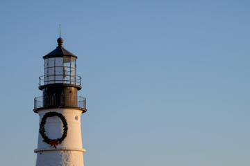 The tower of the Portland Head Lighthouse at Sunrise
