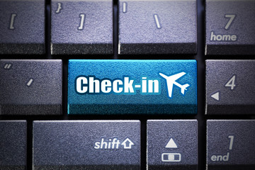Check-in button on the computer keyboard