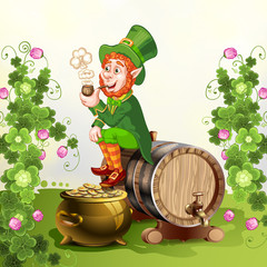 Leprechaun sitting on barrel and holding a pipe