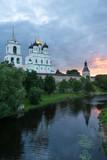 Ancient Pskov Krom at sunset on Velikaya river, Russia poster