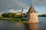 Ancient Pskov Krom on Velikaya river, Russia poster