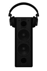 Loudspeaker with headphone on it