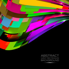 Abstract colorful curvy rectangles background.