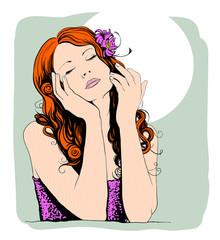 Pop art portrait of a dreaming lovely woman.