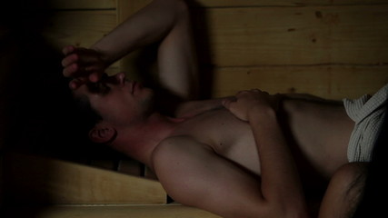 HD1080p: Close up of a couple relyxing in sauna