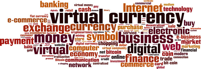 Virtual currency word cloud concept. Vector illustration