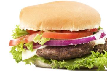 Sandwich big Hamburger close up on white