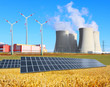 Industrial landscape with different energy resources. - 77571263