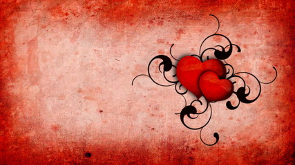 Animation with hearts on the red old-paper background